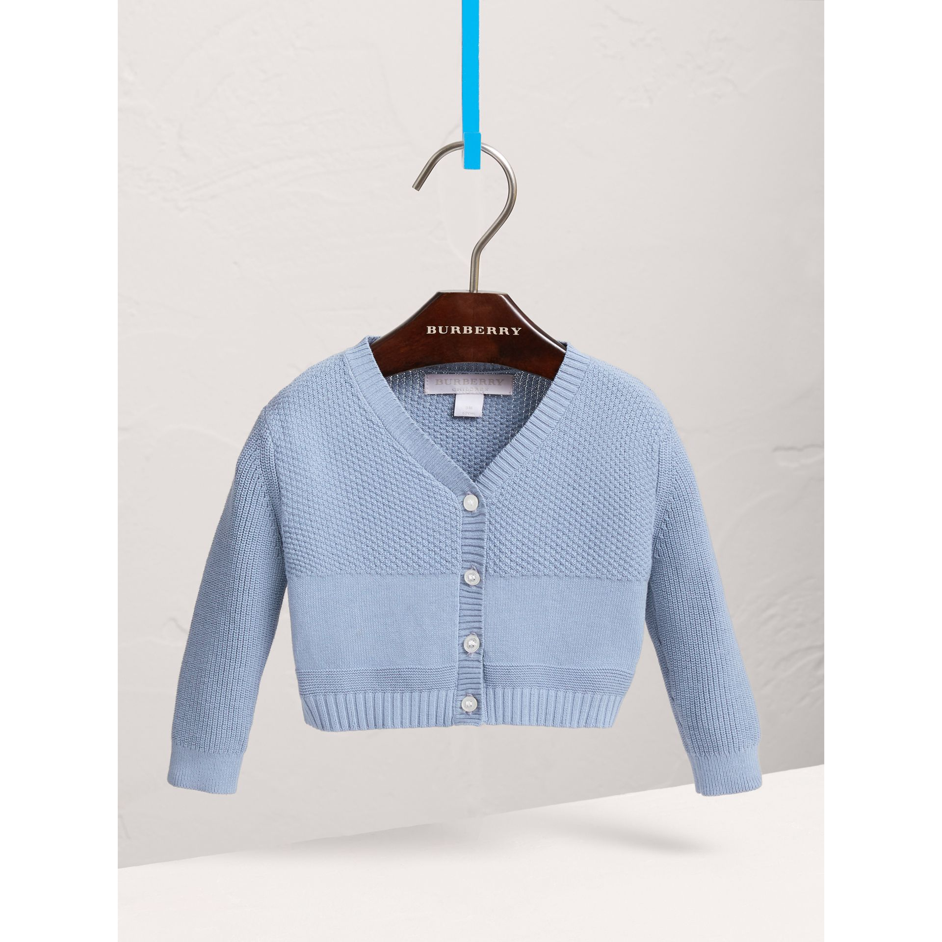 Multi-stitch Cotton Cardigan in Chalk Blue - Children | Burberry United Kingdom - gallery image 0