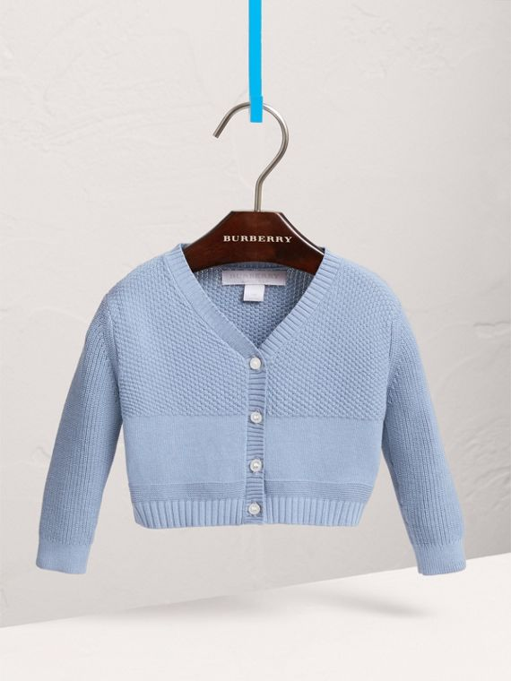 Multi-stitch Cotton Cardigan in Chalk Blue