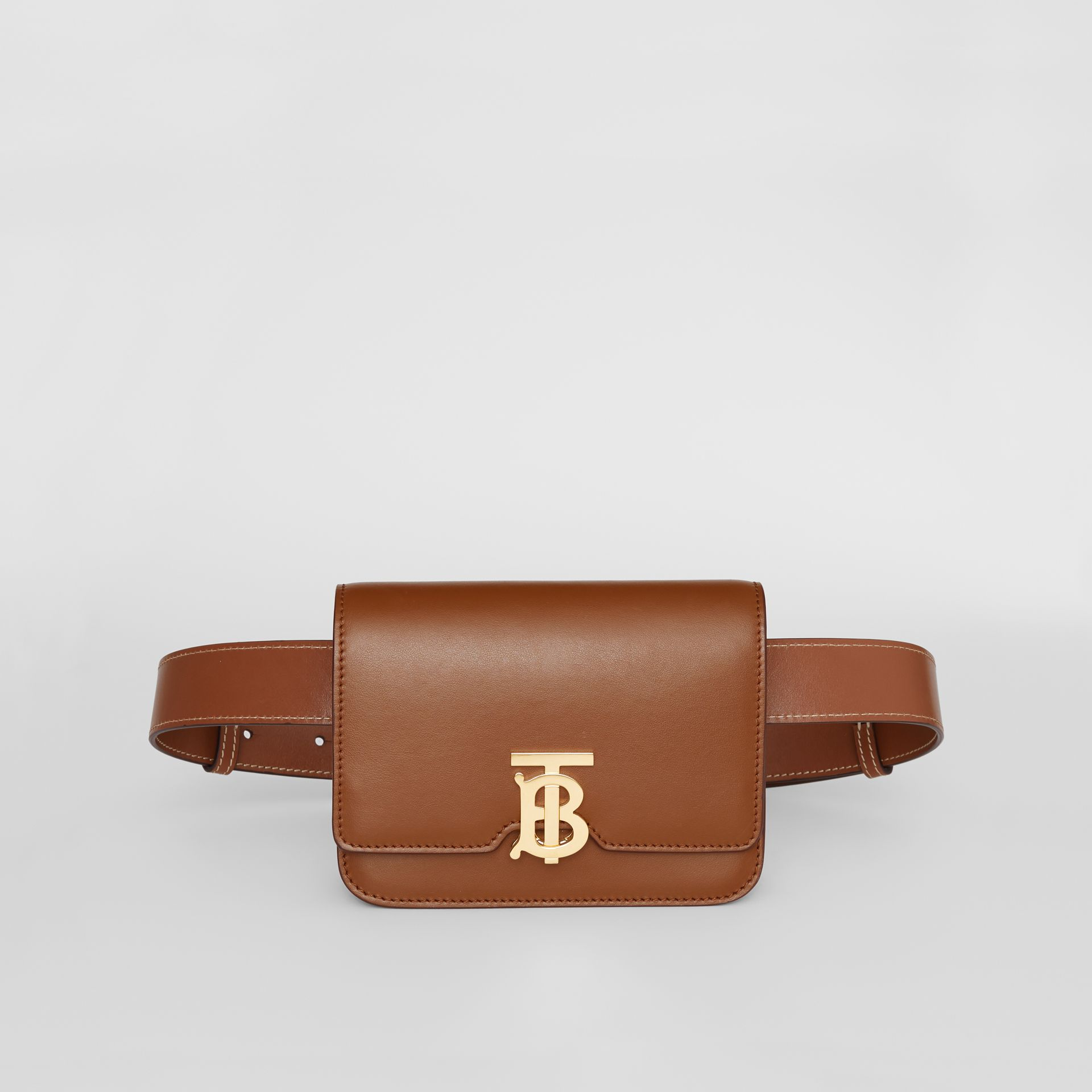 Belted Leather TB Bag in Malt Brown - Women | Burberry - gallery image 0