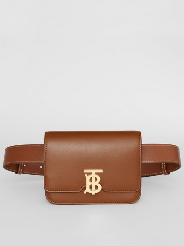 Borsa TB media in pelle con cintura (Marrone Malto)