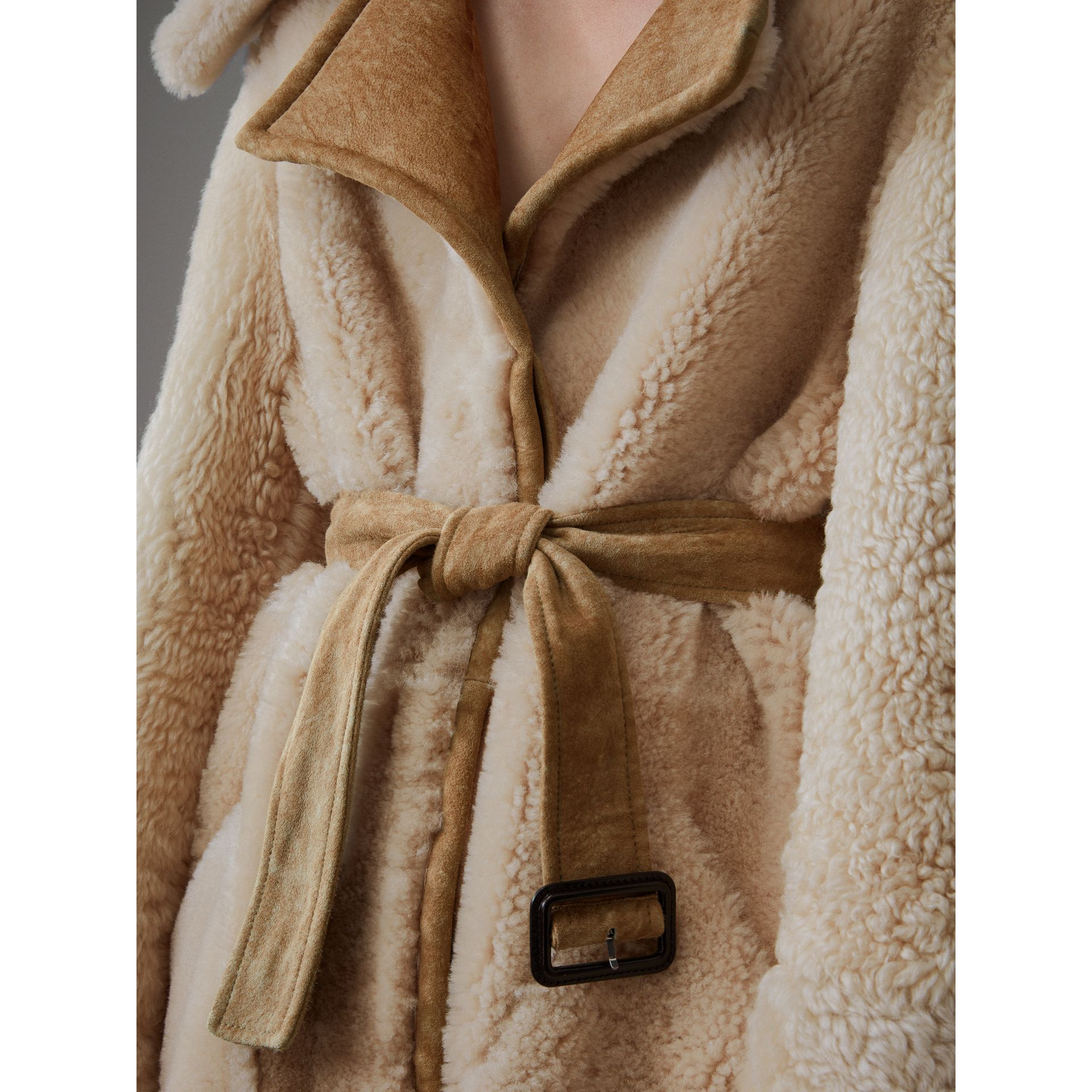 Shearling Oversized Belted Coat in Camel/off White - Women | Burberry Singapore - gallery image 2