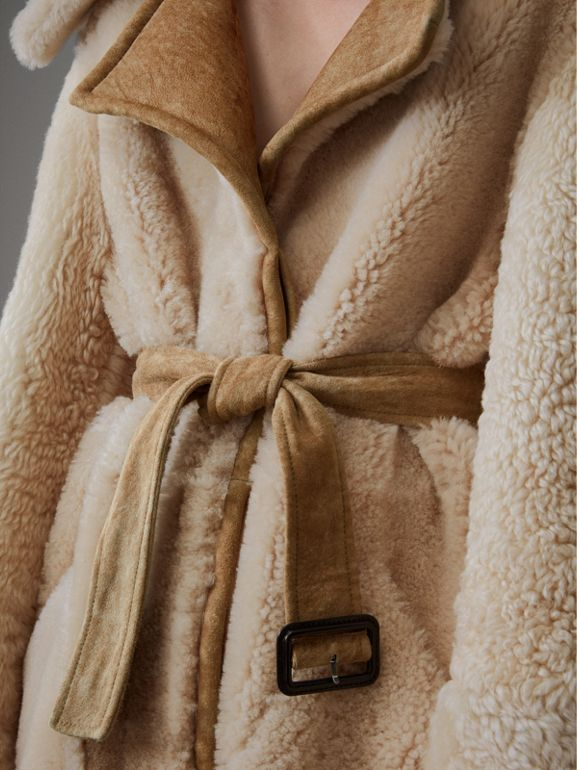 Shearling Oversized Belted Coat in Camel/off White - Women | Burberry - cell image 1