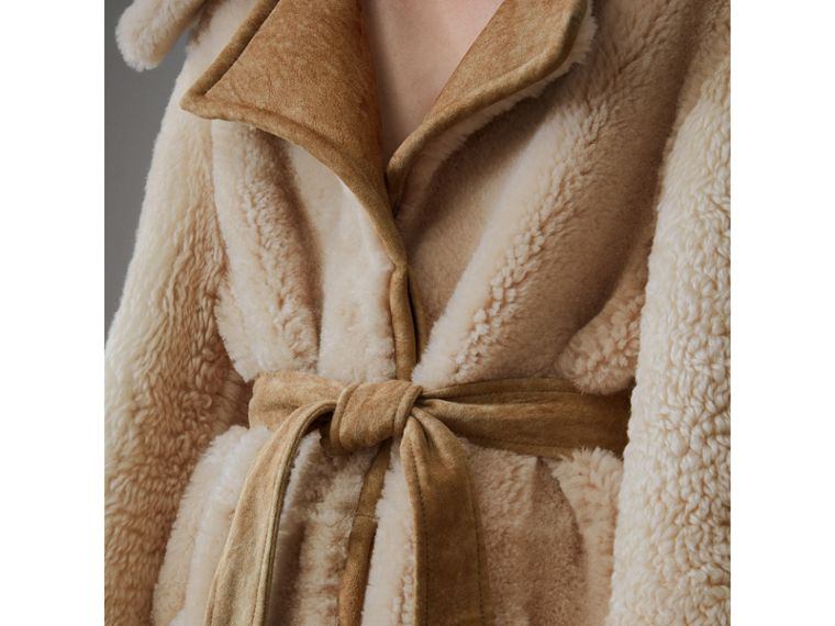 Shearling Oversized Belted Coat in Camel/off White - Women | Burberry Singapore - cell image 1