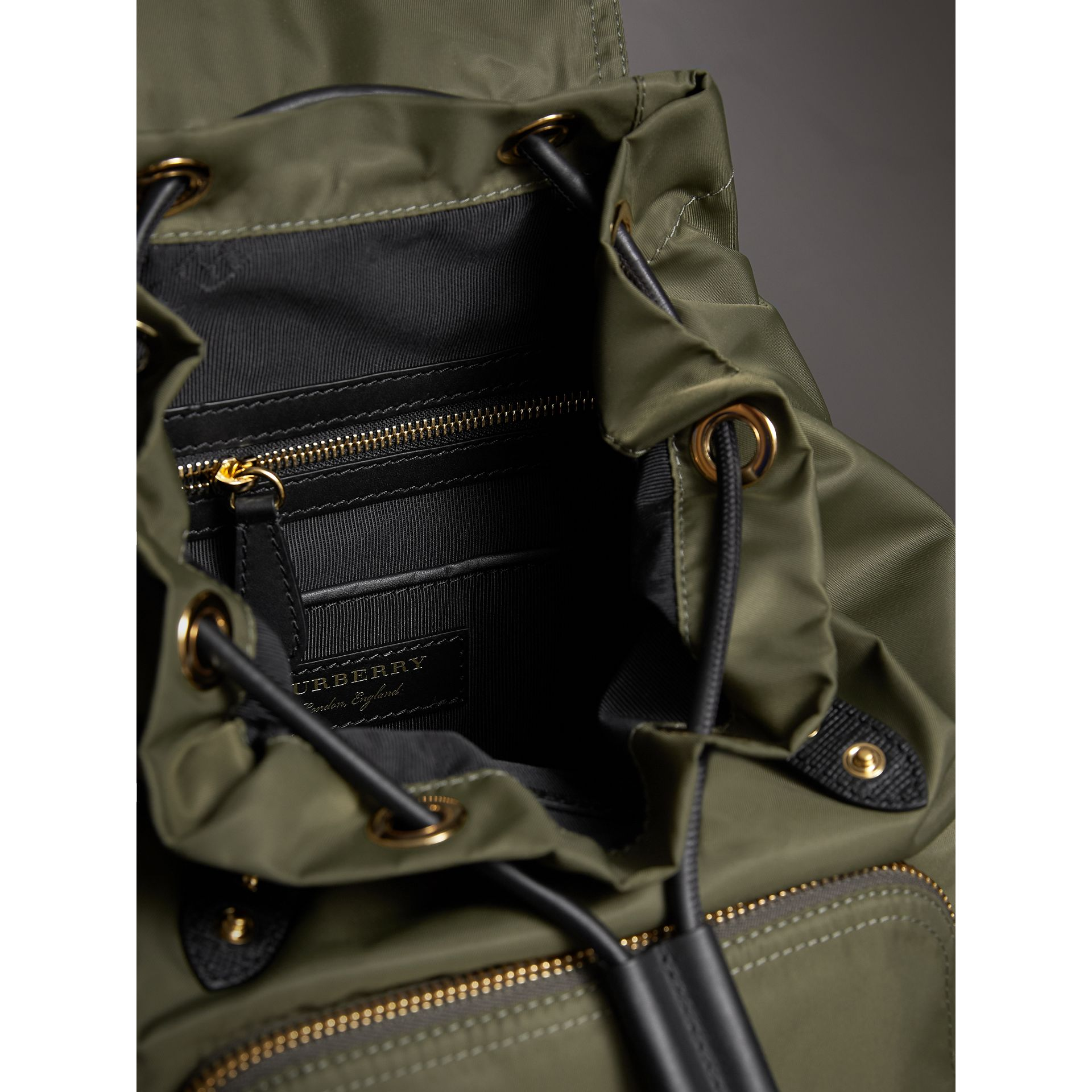 The Medium Rucksack in Technical Nylon and Leather in Canvas Green - Women | Burberry - gallery image 6