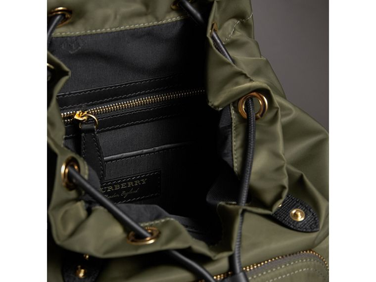The Medium Rucksack in Technical Nylon and Leather in Canvas Green - Women | Burberry United Kingdom - cell image 4