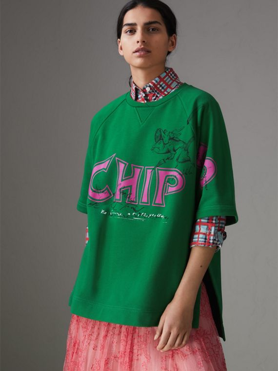 "Sudadera en algodón con estampado de ""fish and chips"" (Verde Pigmento)"