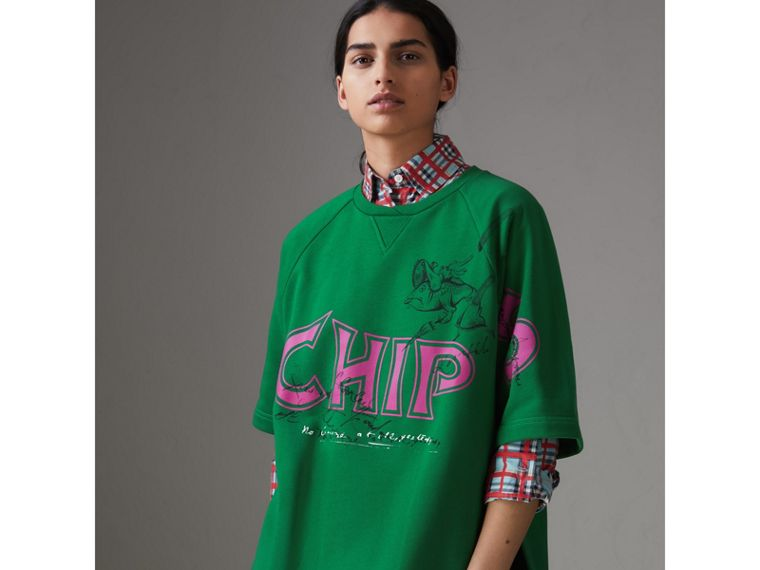 Fish and Chips Print Cotton Sweatshirt in Pigment Green - Women | Burberry Singapore - cell image 4
