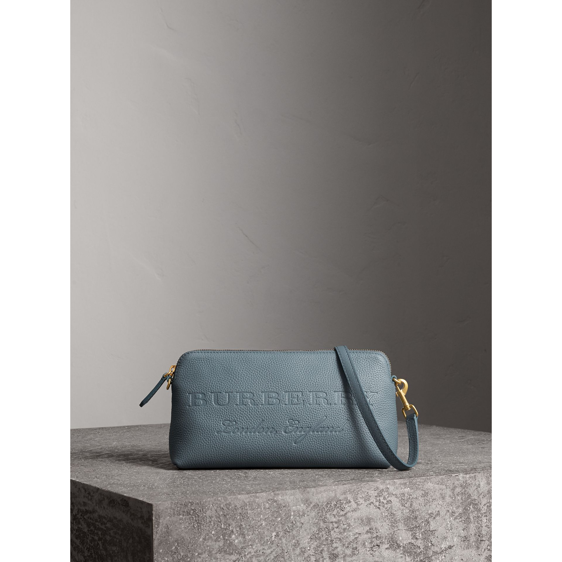 Embossed Leather Clutch Bag in Dusty Teal Blue - Women | Burberry - gallery image 1