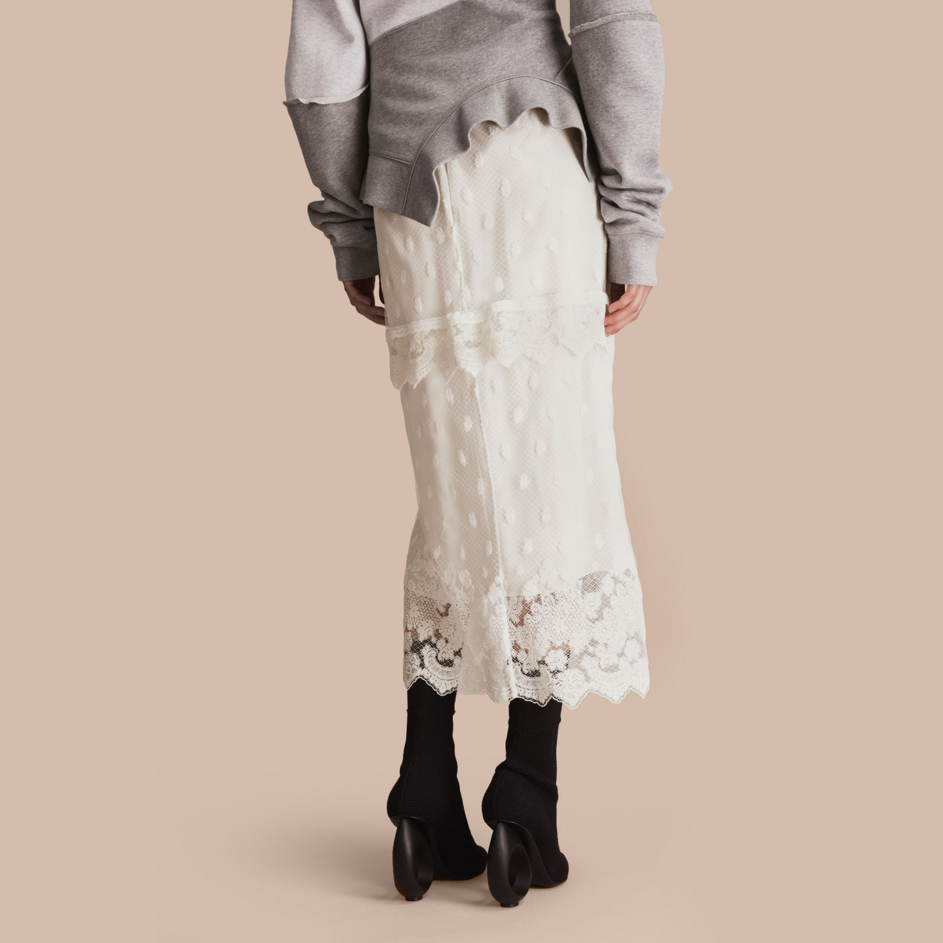 Embroidered Tulle Panelled Skirt in Off White - Women | Burberry - gallery image 3