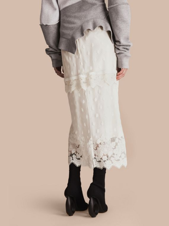 Embroidered Tulle Panelled Skirt in Off White - Women | Burberry - cell image 2