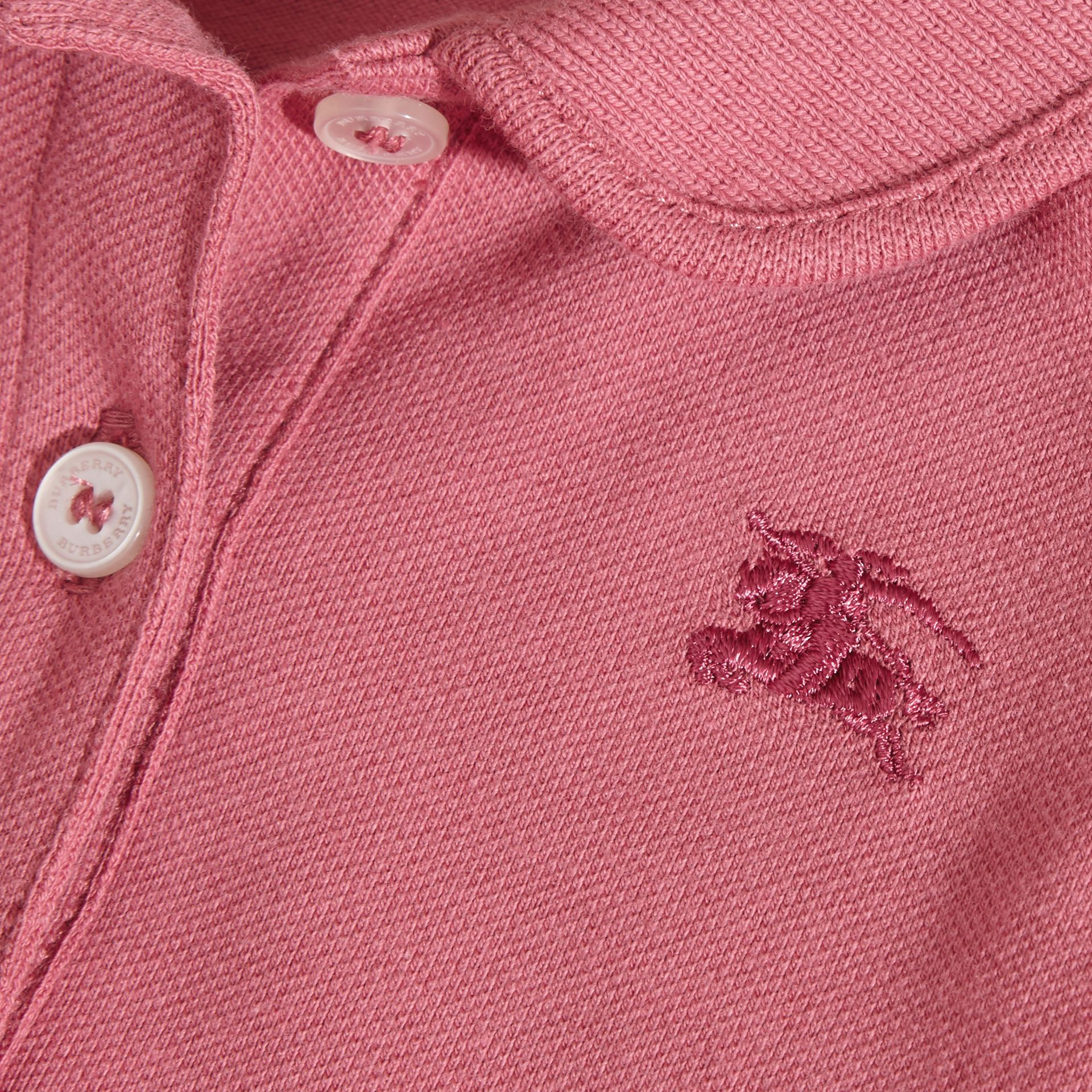 Flutter-sleeve Cotton Piqué Polo Shirt in Pink Azalea | Burberry - gallery image 2