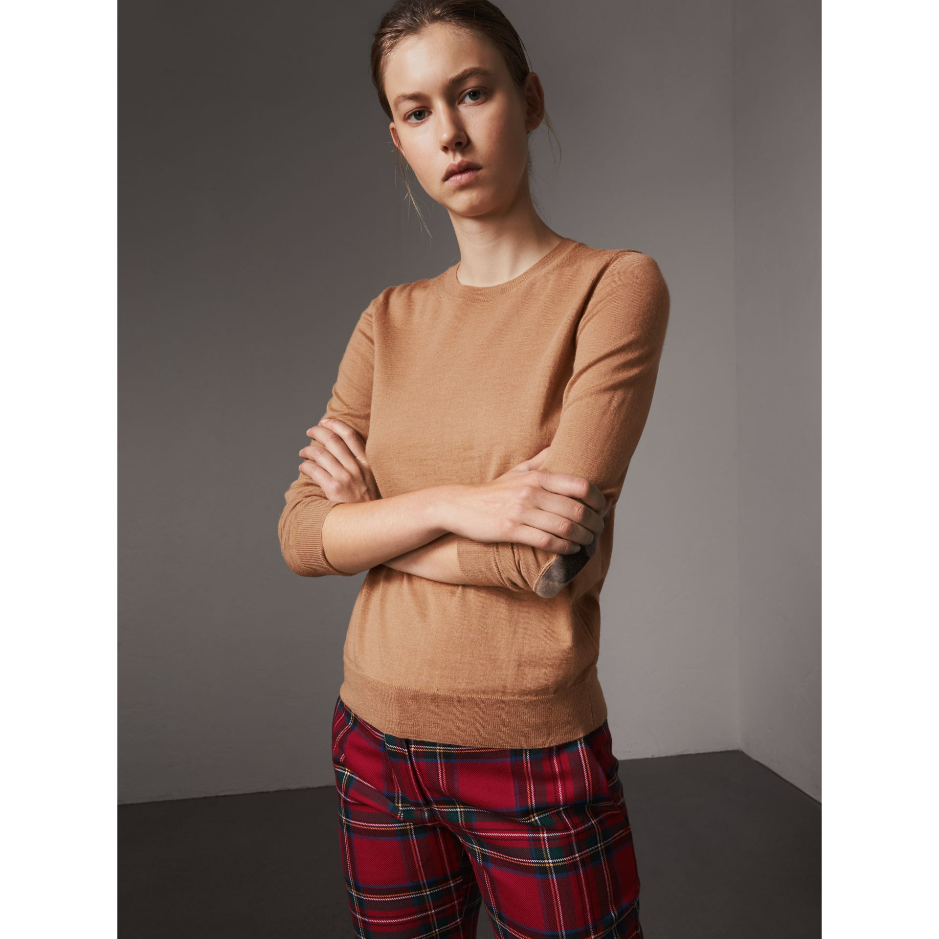 Check Detail Merino Wool Sweater in Camel - Women | Burberry Singapore - gallery image 0