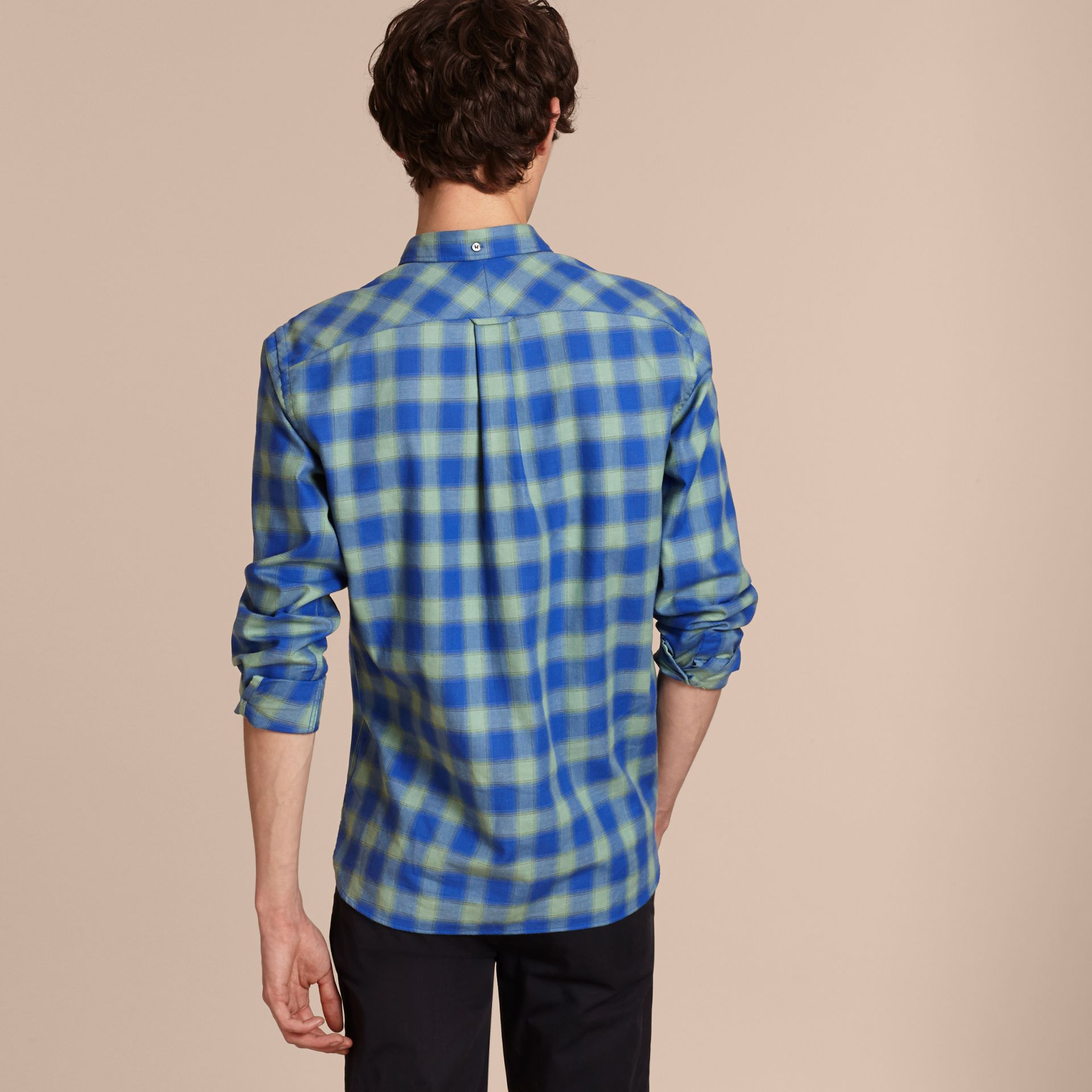 Eucalyptus green Gingham Check Cotton Shirt Eucalyptus Green - gallery image 3