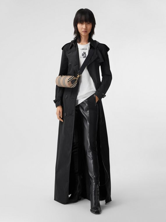 Extra Long Shape-memory Taffeta Trench Coat in Black