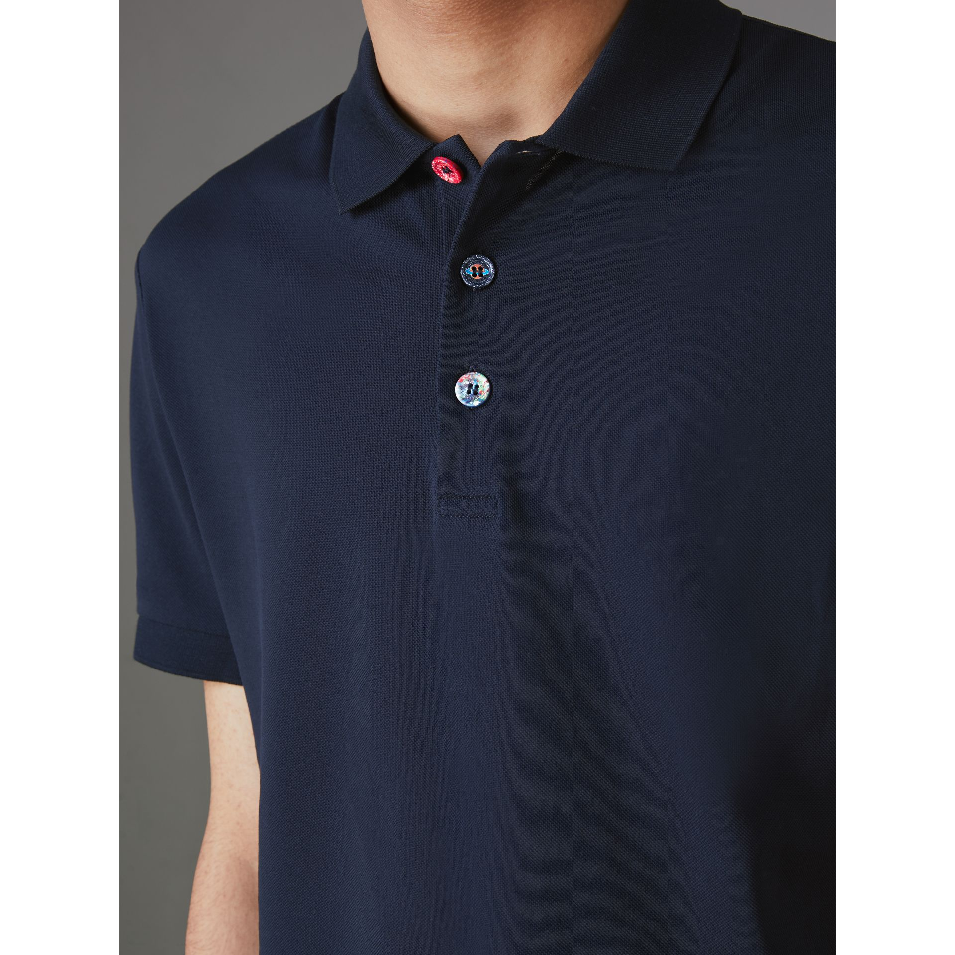 Painted Button Cotton Piqué Polo Shirt in Navy - Men | Burberry Australia - gallery image 1
