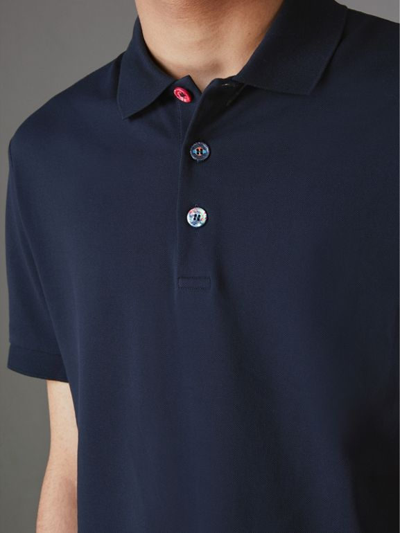 Painted Button Cotton Piqué Polo Shirt in Navy - Men | Burberry Australia - cell image 1
