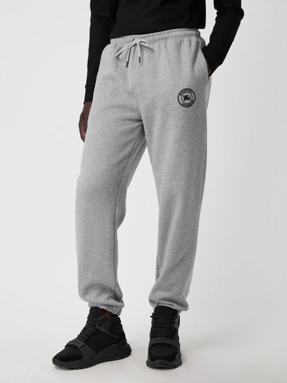 Embroidered Logo Jersey Trackpants in Pale Grey Melange