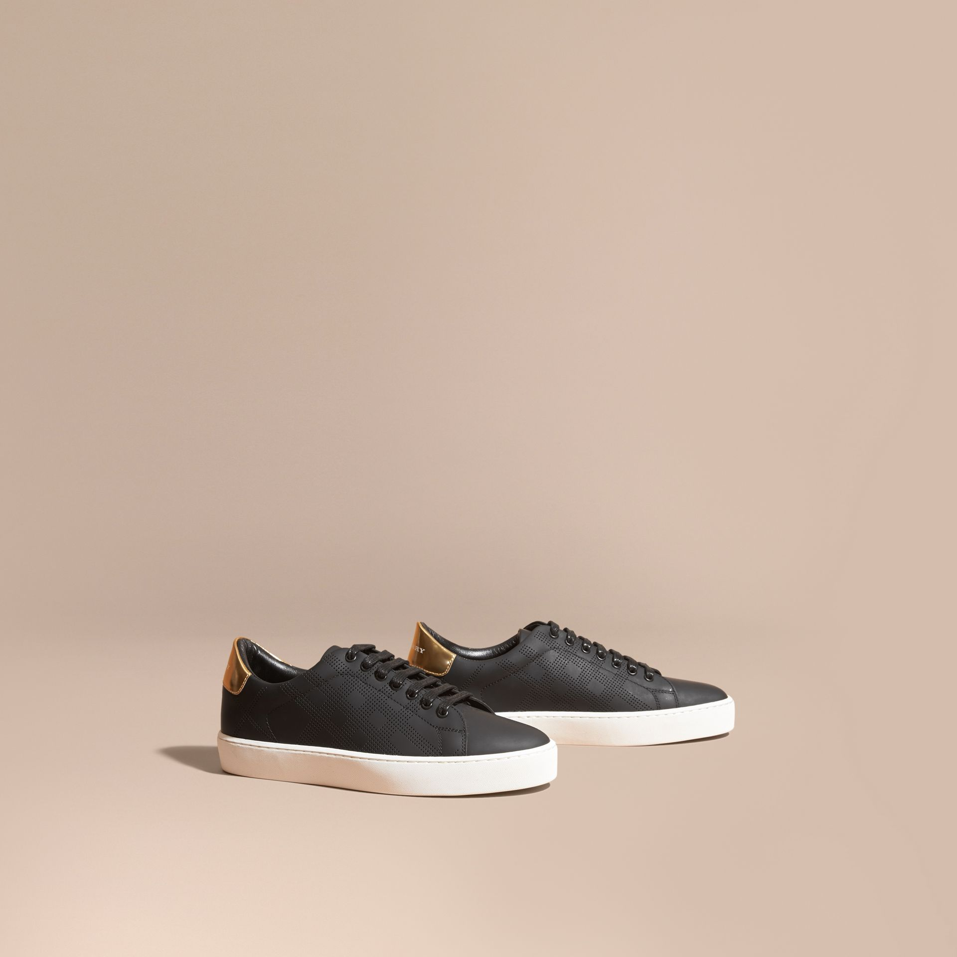 Perforated Check Leather Trainers - gallery image 1