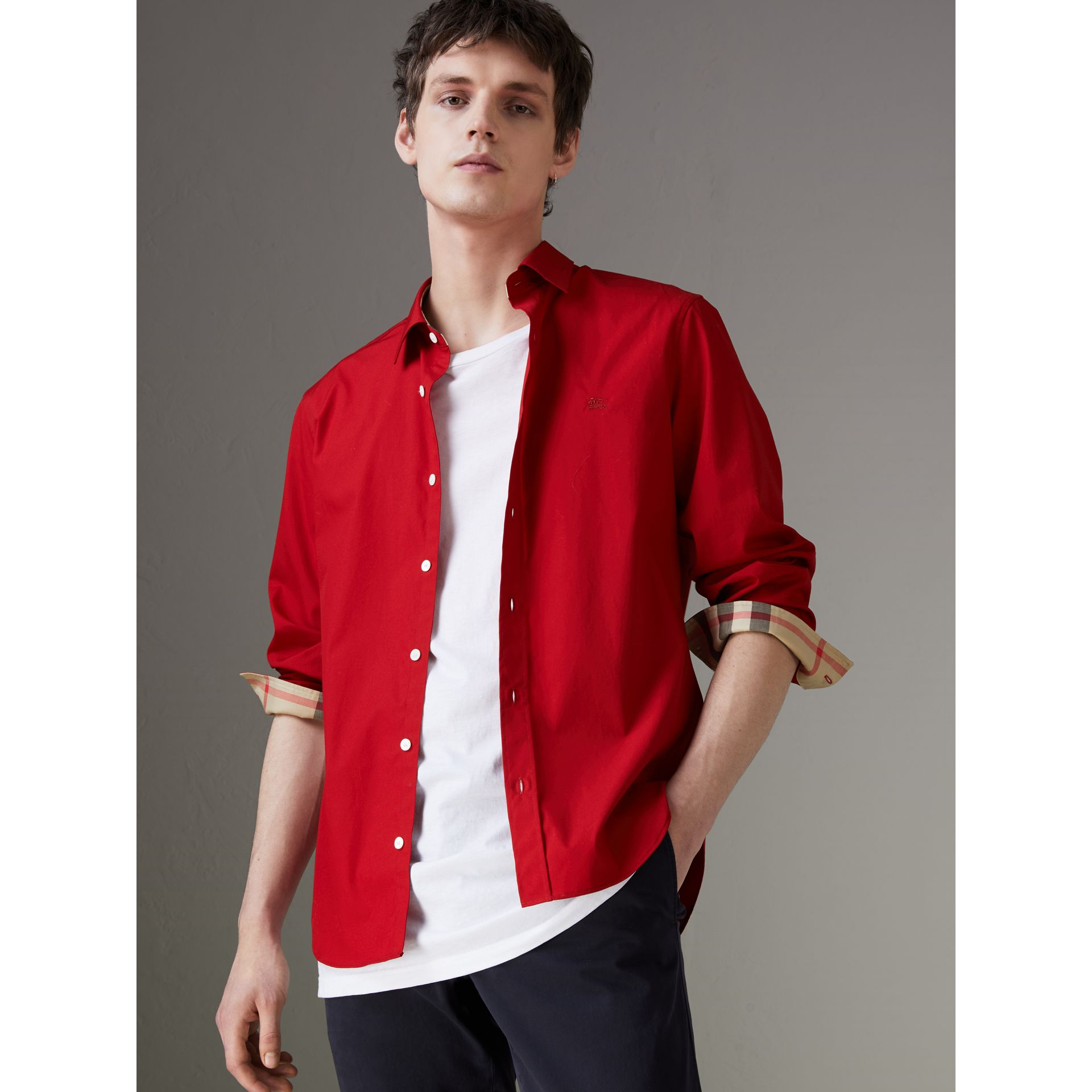 Check Detail Stretch Cotton Poplin Shirt in Bright Red - Men | Burberry - gallery image 0