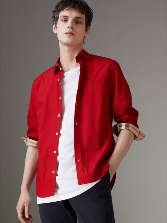 Check Detail Stretch Cotton Poplin Shirt in Bright Red