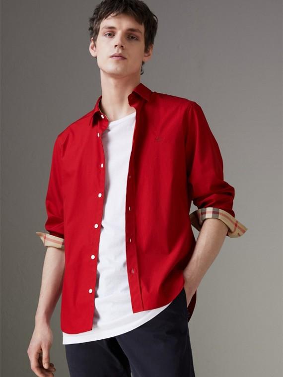 Hemd aus Stretch-Baumwollpopelin mit Karodetail (Leuchtendes Rot)
