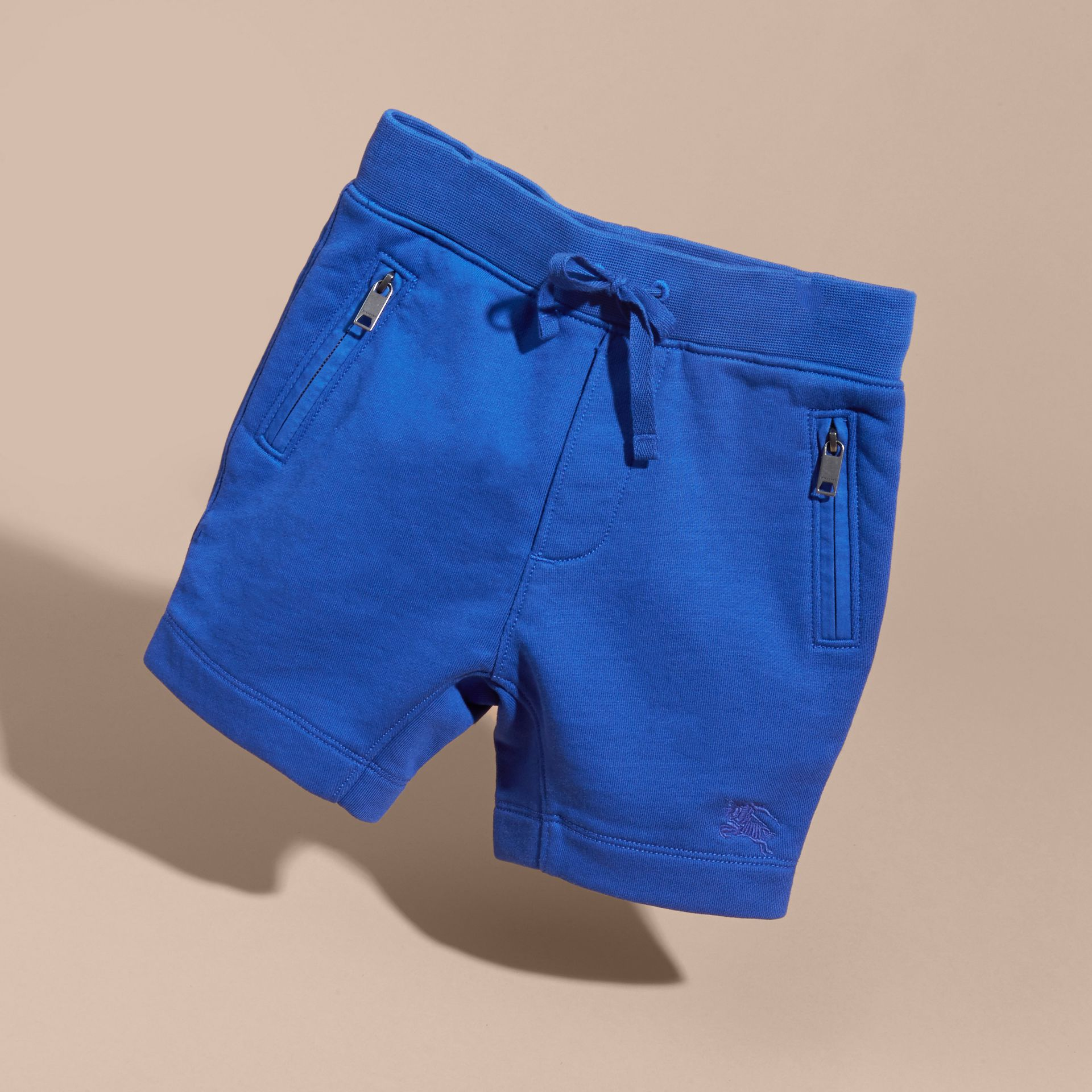 Cotton Jersey Drawcord Shorts in Brilliant Blue - Boy | Burberry - gallery image 3