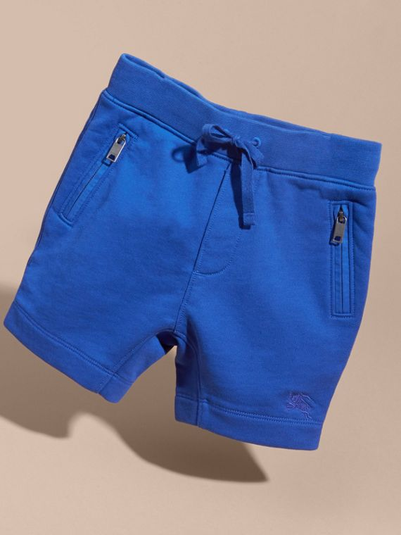 Cotton Jersey Drawcord Shorts in Brilliant Blue - Boy | Burberry - cell image 2