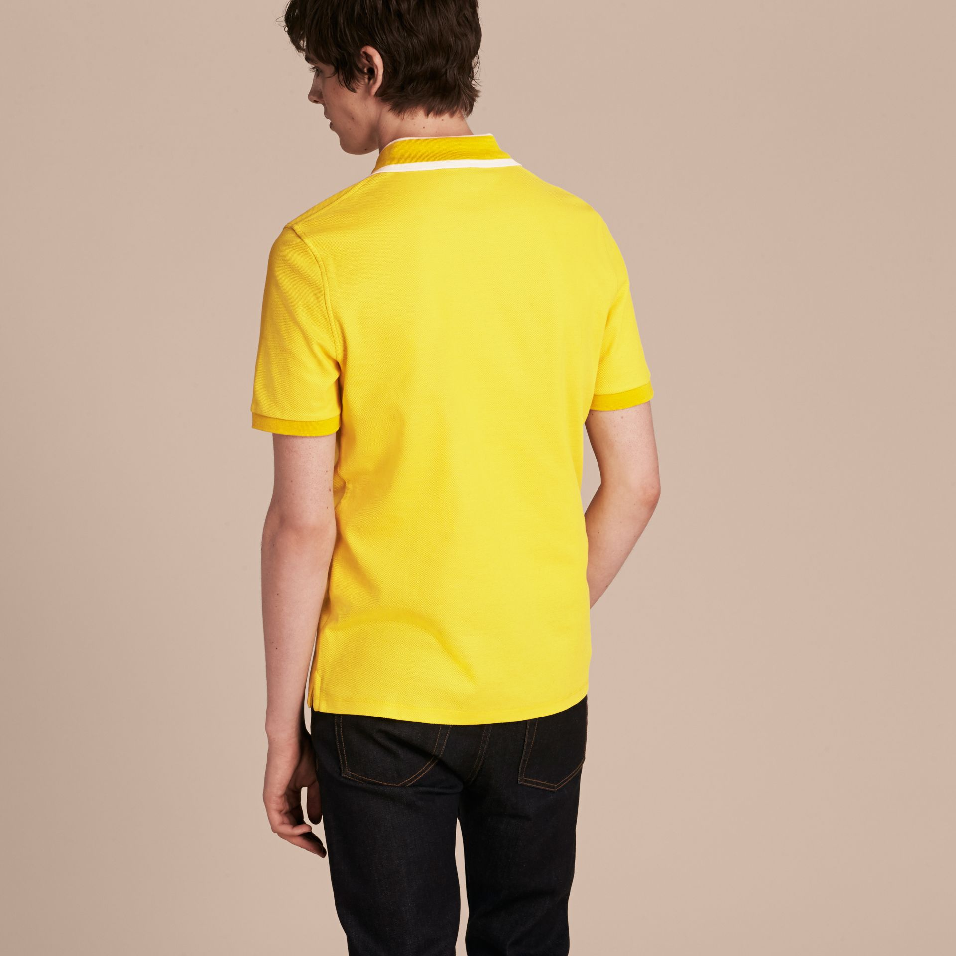 Striped Collar Cotton Piqué Polo Shirt in Daffodil - gallery image 3