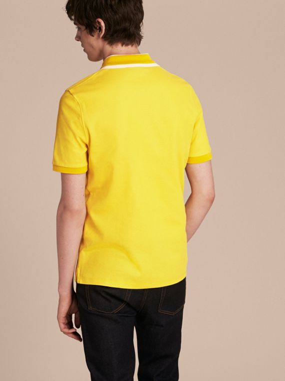 Striped Collar Cotton Piqué Polo Shirt Daffodil - cell image 2