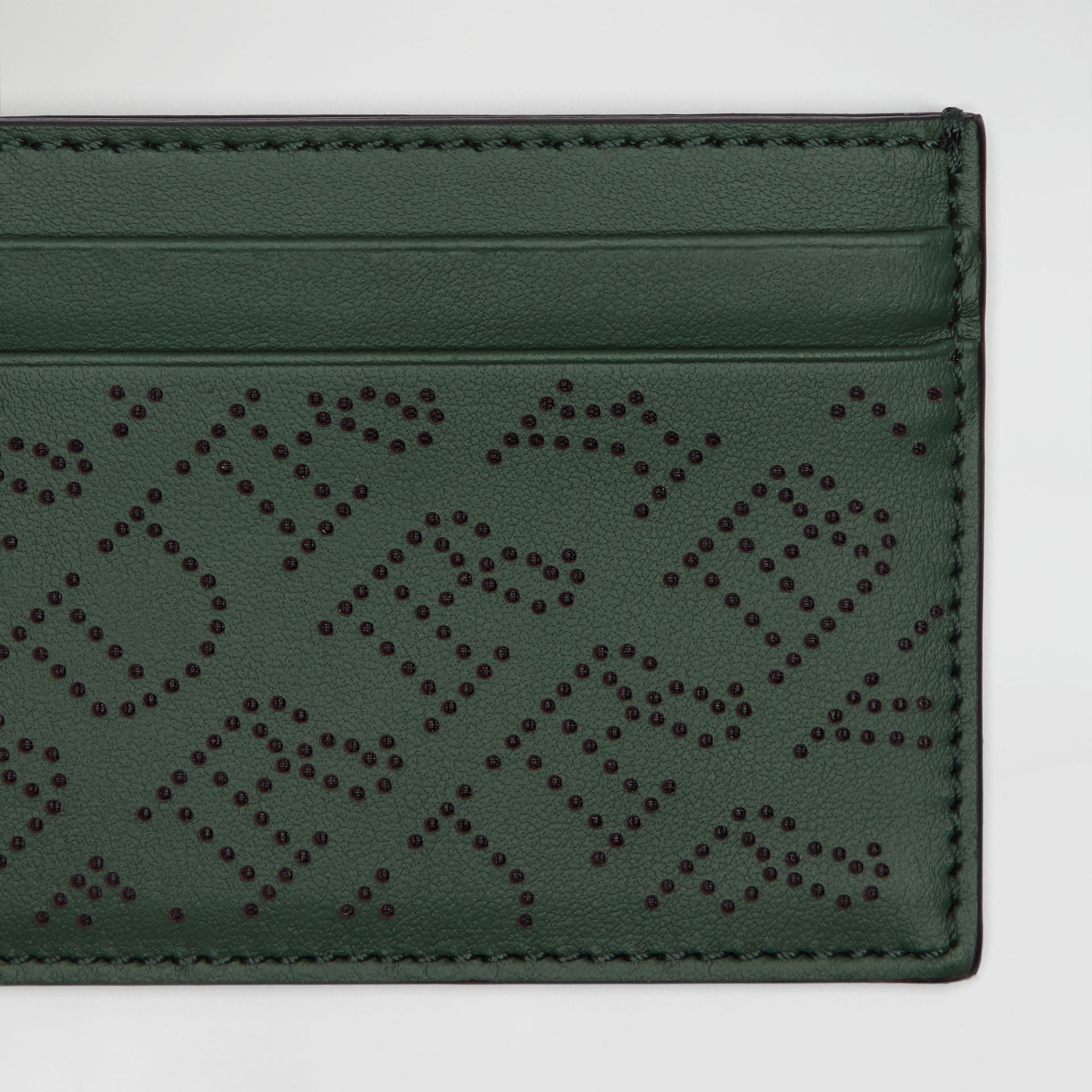 Perforated Logo Leather Card Case in Vintage Green - Women | Burberry Australia - gallery image 1