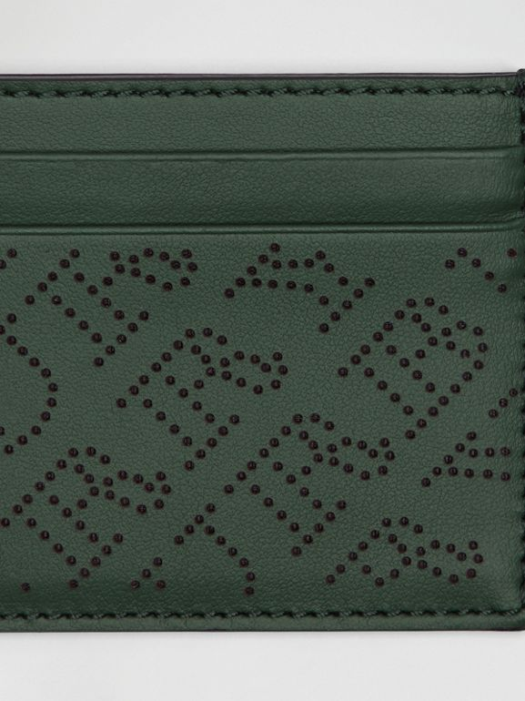 Perforated Logo Leather Card Case in Vintage Green - Women | Burberry Australia - cell image 1