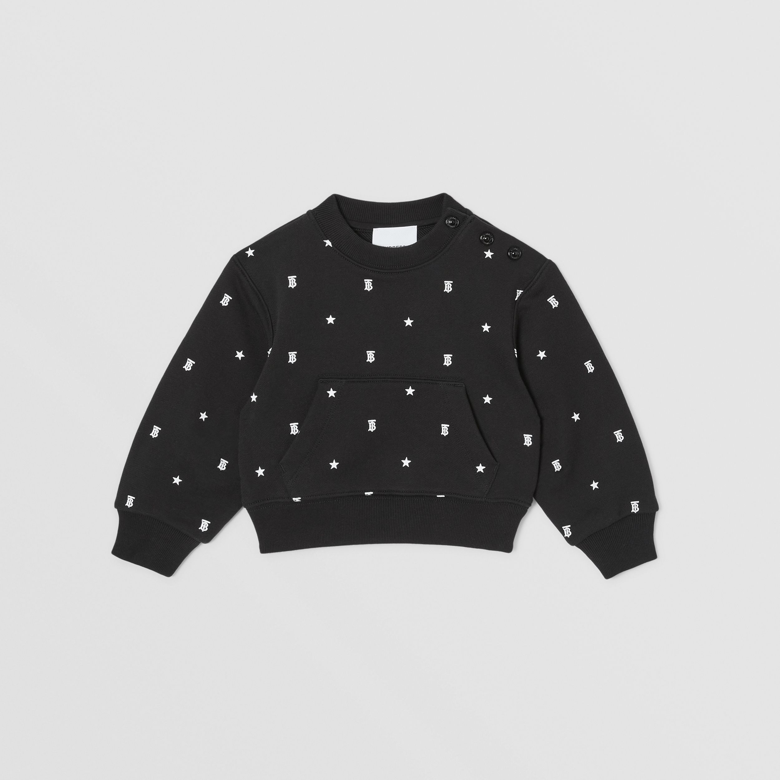 Star and Monogram Motif Cotton Sweatshirt in Black - Children | Burberry - 1