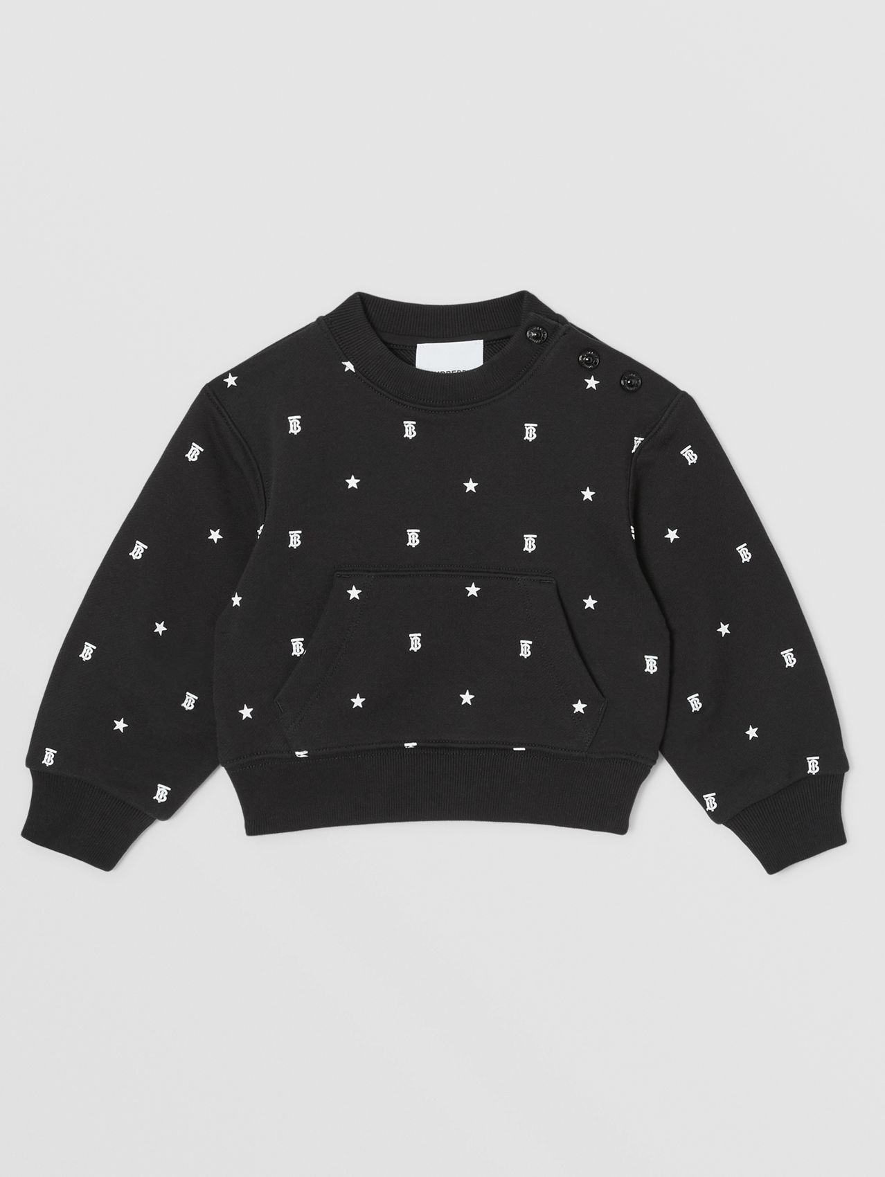 Star and Monogram Motif Cotton Sweatshirt in Black