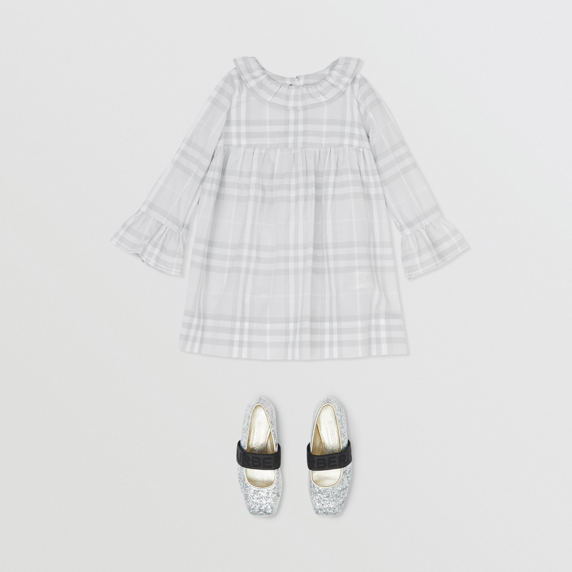 Long-sleeve Vintage Check Cotton Dress in Pale Grey - Children | Burberry - gallery image 2