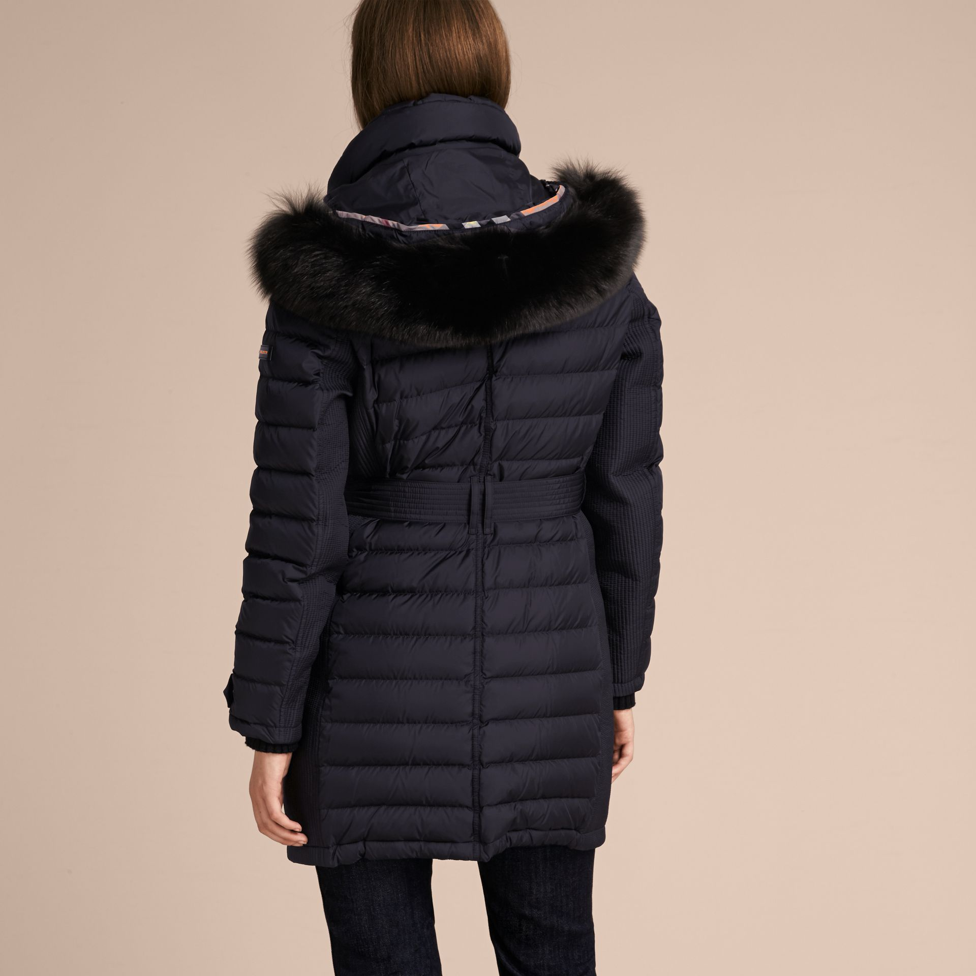 Navy Slim Fit Down-filled Parka with Fur Trim Navy - gallery image 3