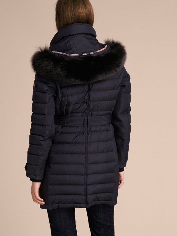 Navy Slim Fit Down-filled Parka with Fur Trim Navy - cell image 2