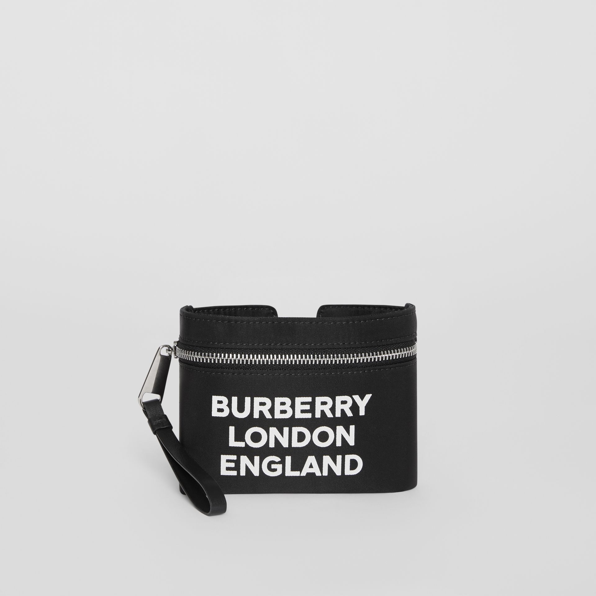 Logo Print Nylon Armband Pouch in Black - Men | Burberry - gallery image 0