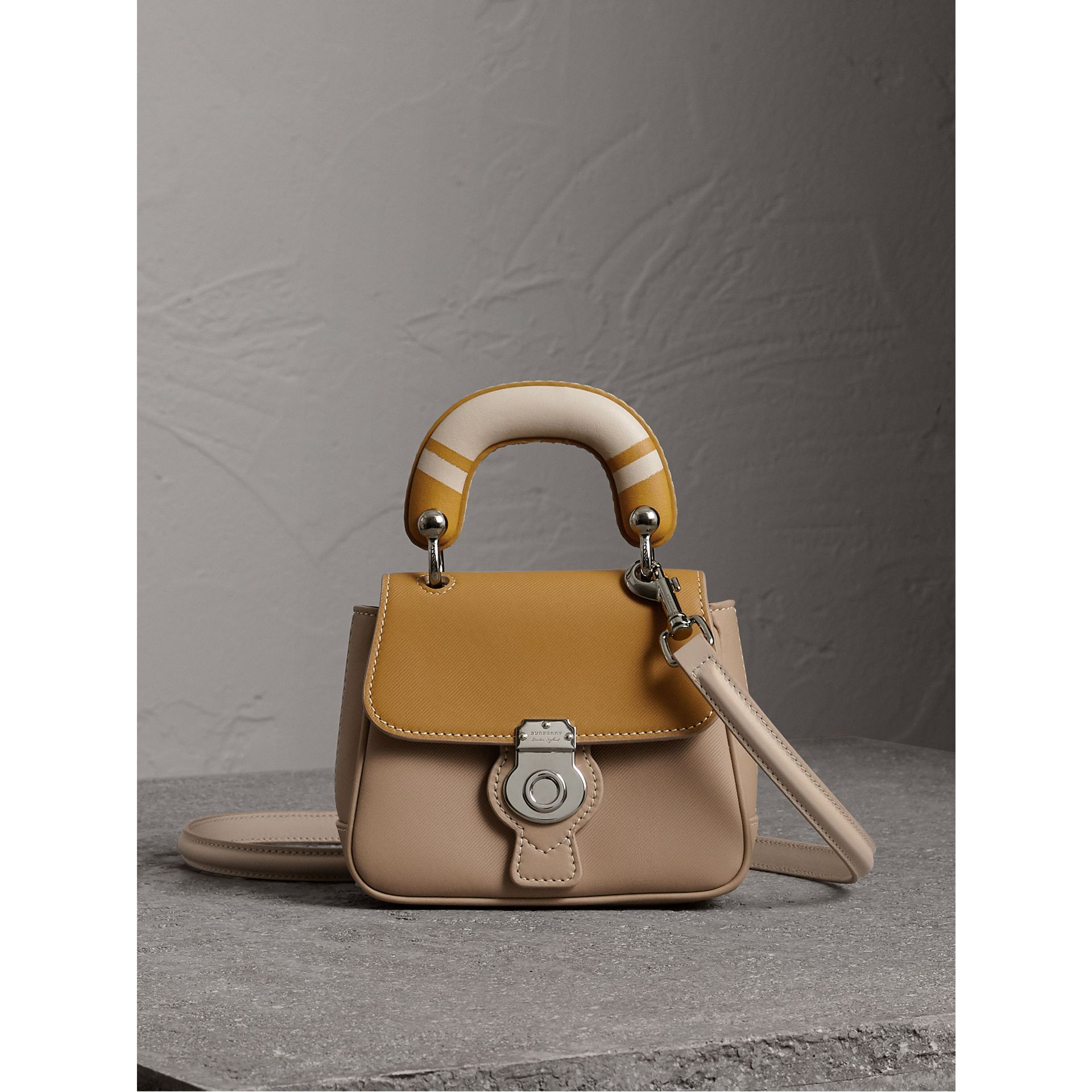 The Mini DK88 Top Handle Bag with Geometric Print in Honey/ochre Yellow - Women | Burberry - gallery image 0