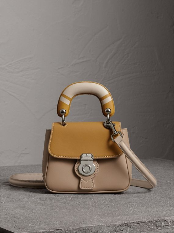 The Mini DK88 Top Handle Bag with Geometric Print in Honey/ochre Yellow