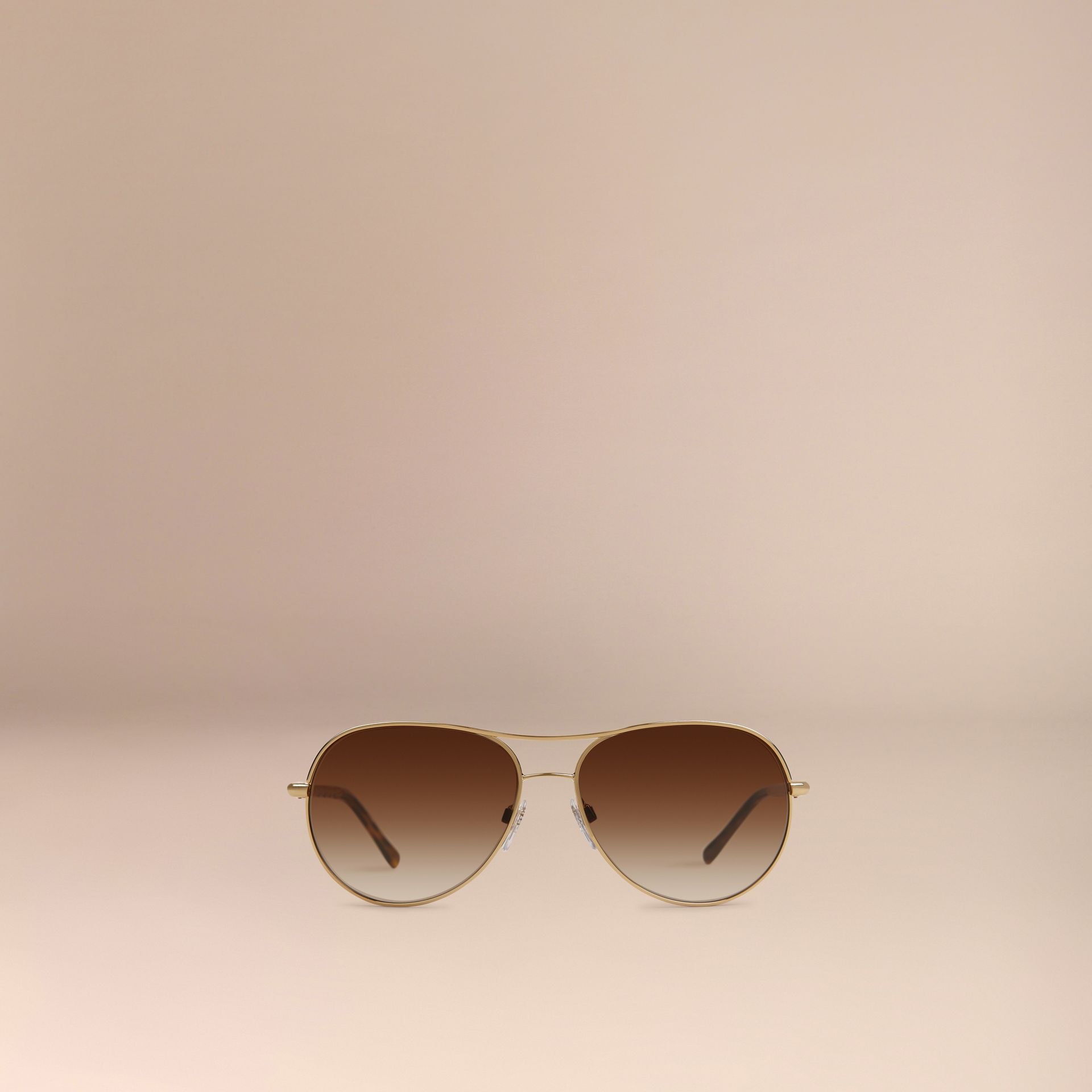Gold Gabardine Collection Aviator Sunglasses Gold - gallery image 3