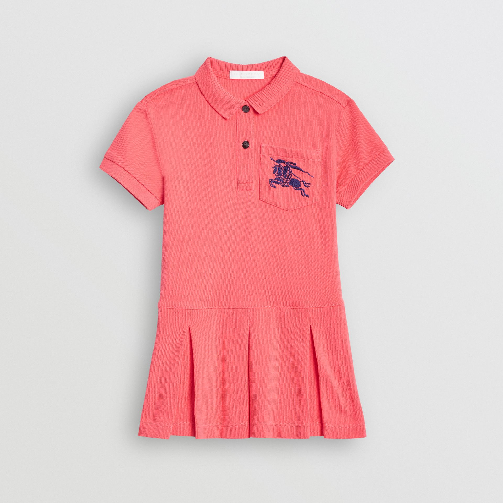 EKD Logo Cotton Polo Dress in Bright Pink | Burberry - gallery image 0