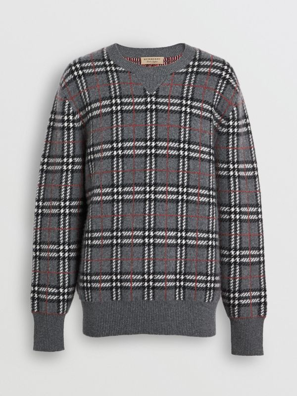 Check Cashmere Jacquard Sweater in Mid Grey Melange - Men | Burberry - cell image 3