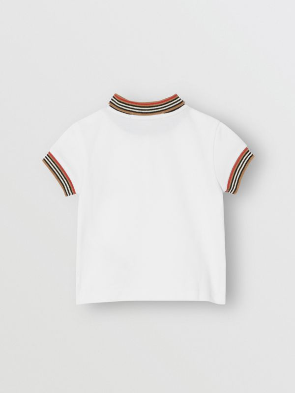Stripe Detail Cotton Polo Shirt in White - Children | Burberry Singapore - cell image 3