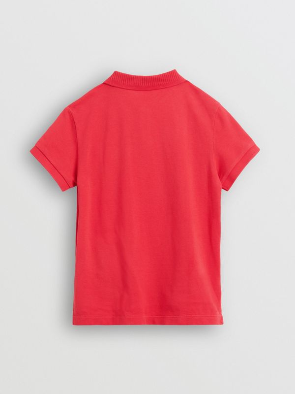 EKD Logo Cotton Piqué Polo Shirt in Bright Red - Children | Burberry - cell image 3