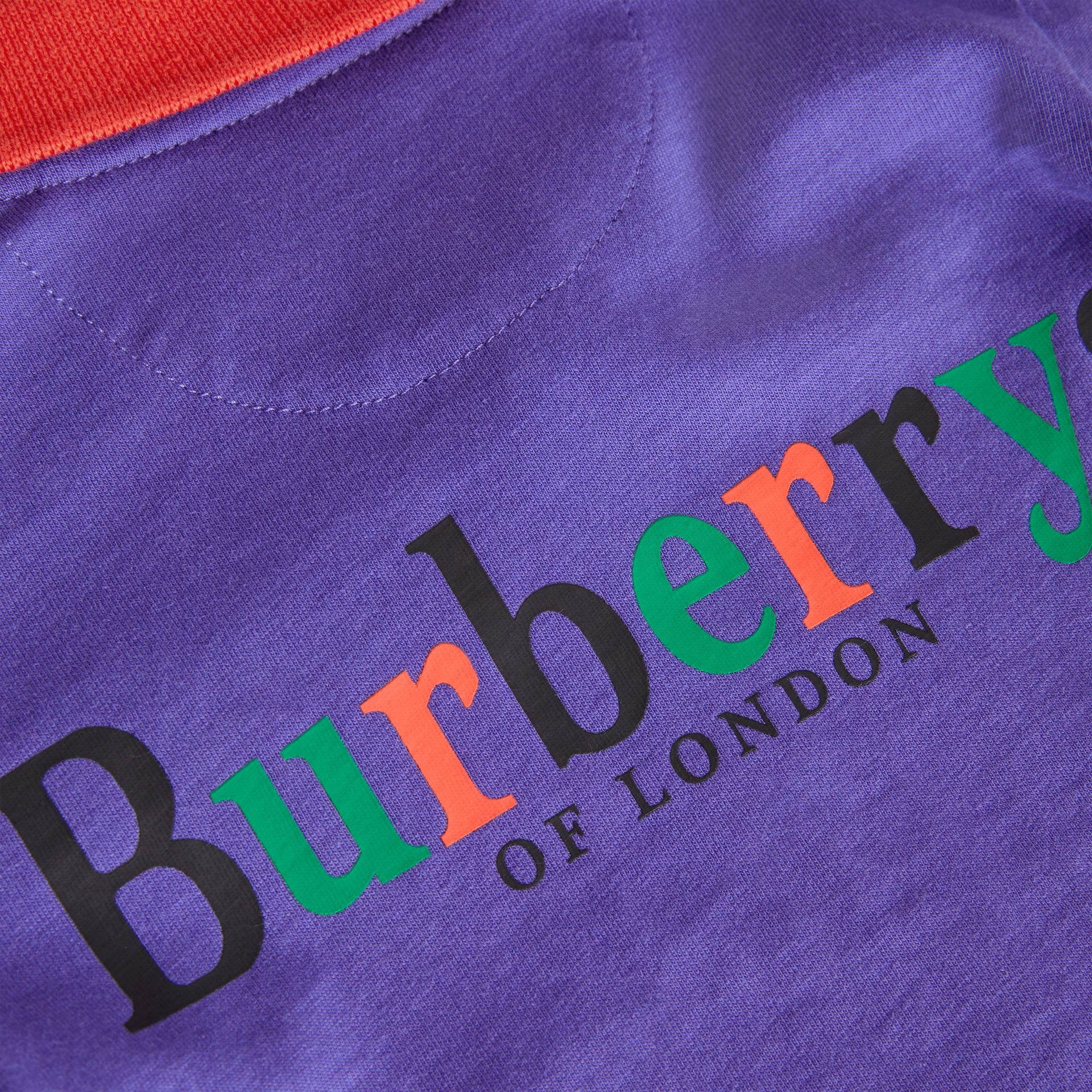 Long-sleeve Archive Logo Print Cotton Polo Shirt in Bright Sapphire Blue - Children | Burberry United Kingdom - gallery image 1