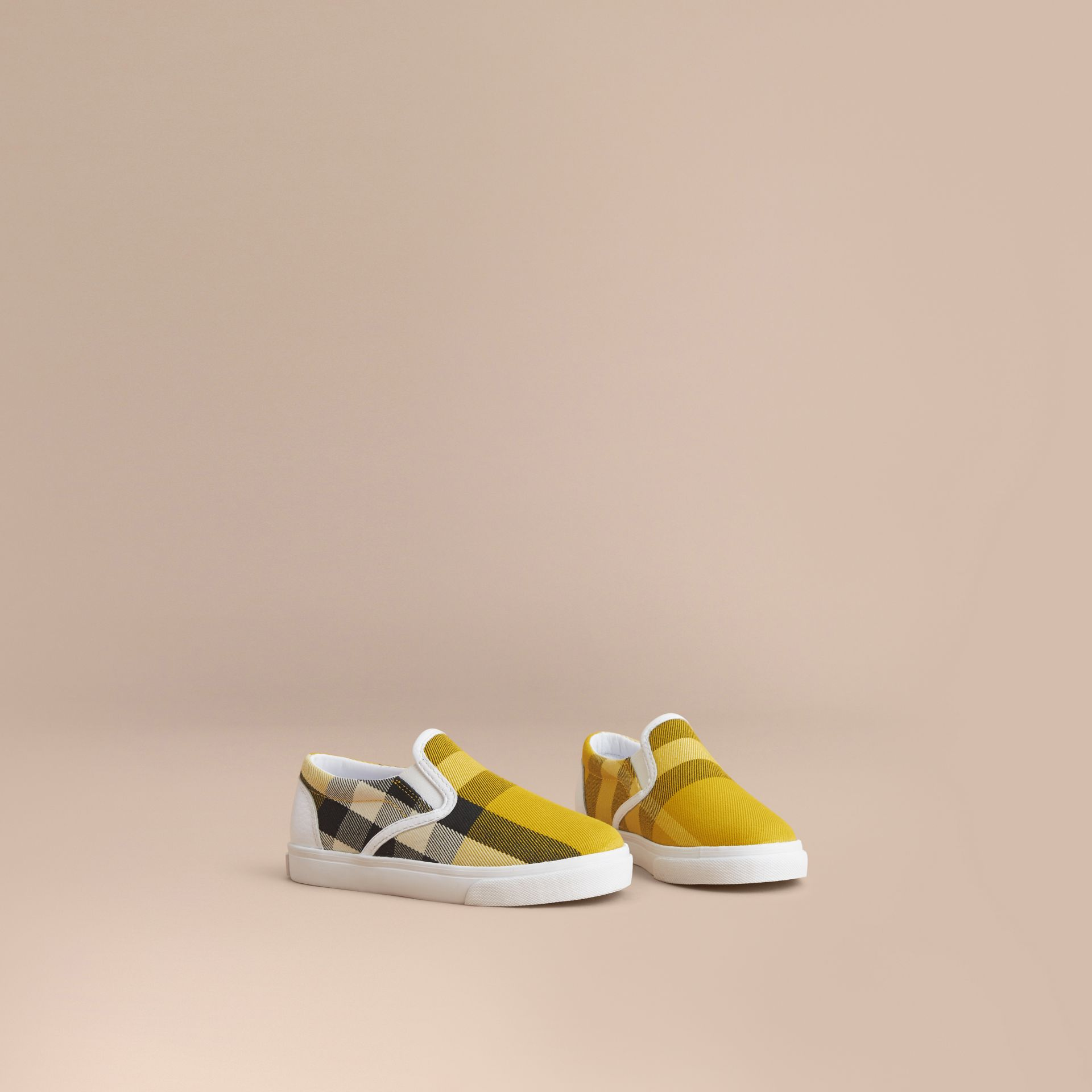 Tonal House Check and Leather Slip-on Trainers in Gorse Yellow | Burberry - gallery image 1