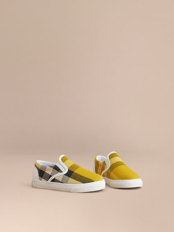 Tonal House Check and Leather Slip-on Trainers in Gorse Yellow