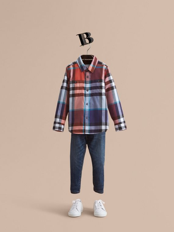 Pocket Detail Check Flannel Shirt in Orange Red - Boy | Burberry