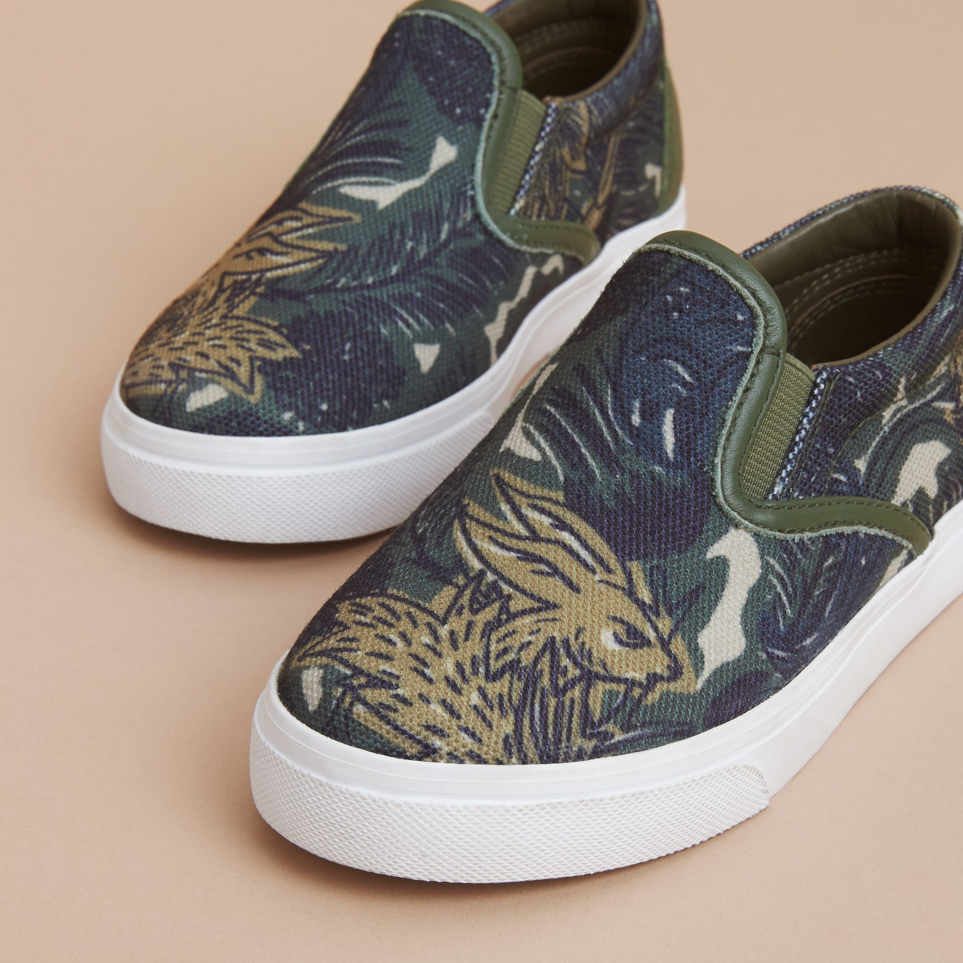 Beasts Print Cotton and Leather Slip-on Trainers in Clay Green | Burberry - gallery image 3