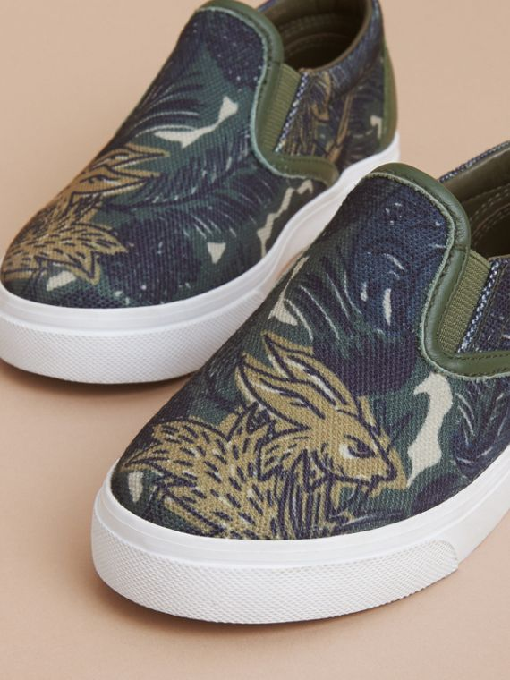 Beasts Print Cotton and Leather Slip-on Trainers in Clay Green | Burberry - cell image 2